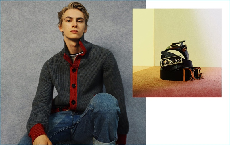 Model Dominik Sadoch rocks a Missoni cardigan, Bottega Veneta t-shirt, and Gucci jeans. Right: Belts by Gucci, Versace, and Dolce & Gabbana.