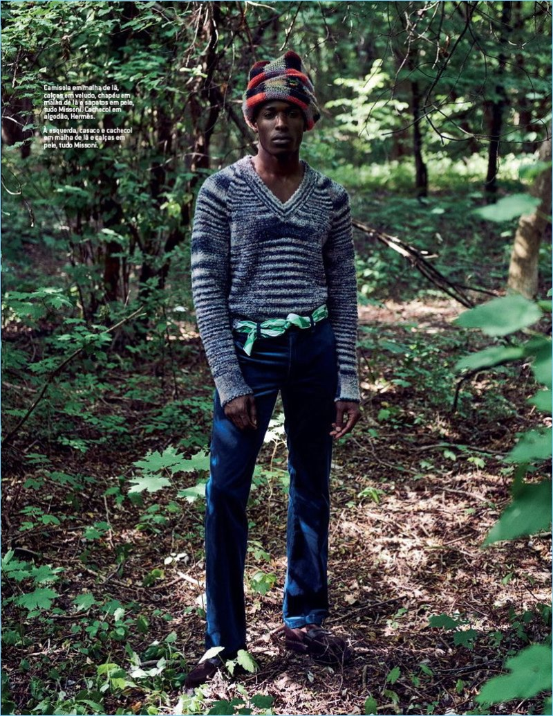 Efosa Uwubamwen Ventures Outdoors in Missoni Knits for GQ Portugal