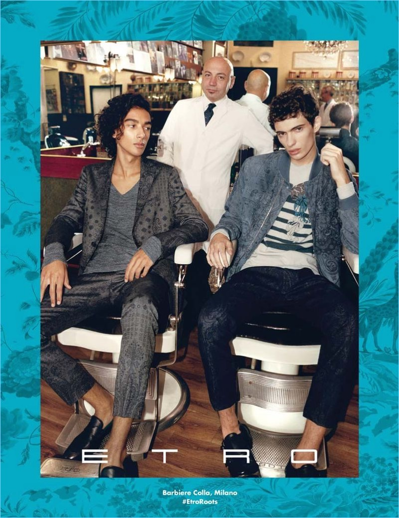 Paolo Zerbini photographs Callum Stoddart and Piero Mendez for Etro's spring-summer 2018 campaign.