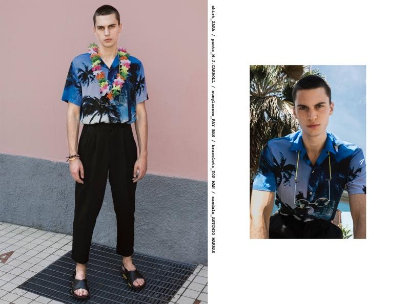 Eugen wears shirt Zara, pants M.J. Carroll, sungalsses Ray-Ban, bracelets Topman, and sandals Antonio Marras.