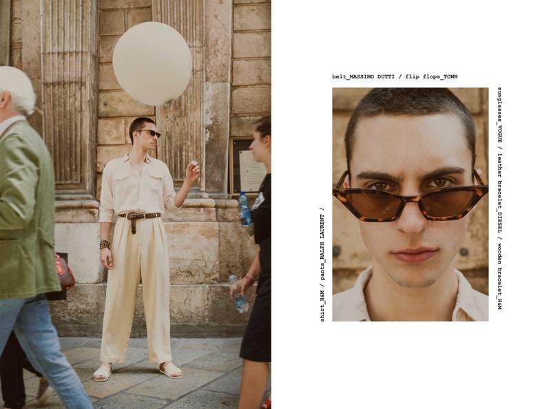 Eugen wears shirt H&M, pants Ralph Lauren, belt Massimo Dutti, sandals Town, sunglasses Vogue, leather bracelet Diesel, and wooden bracelet H&M.