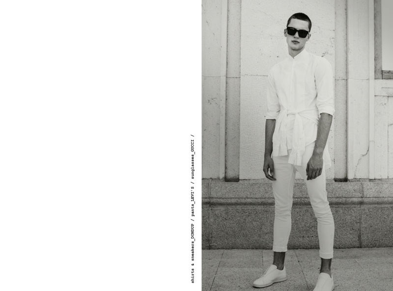 Eugen wears pants Levi's, sunglasses Gucci, shirts and sneakers Dondup.