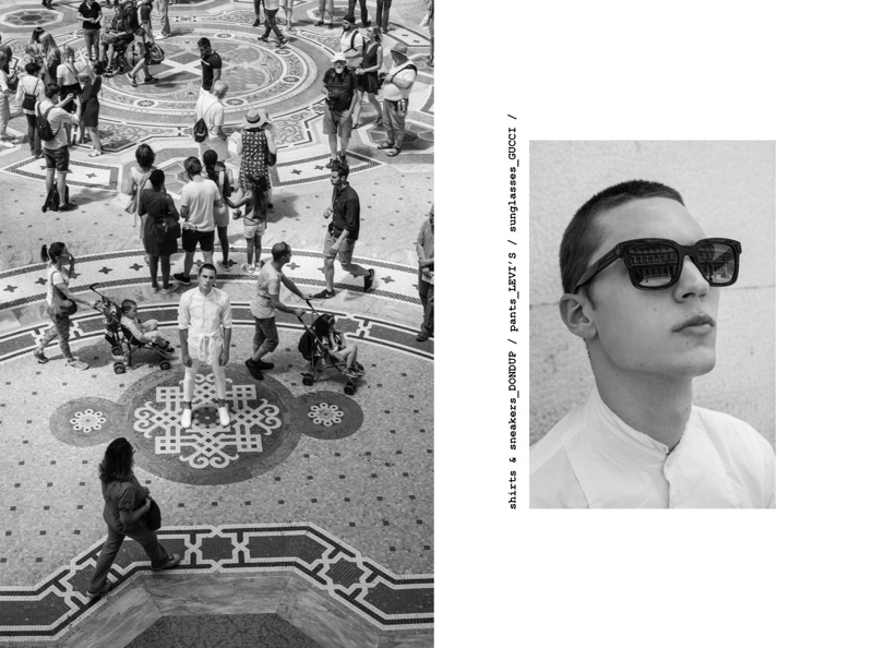 Eugen wears sunglasses Gucci and shirt Dondup.
