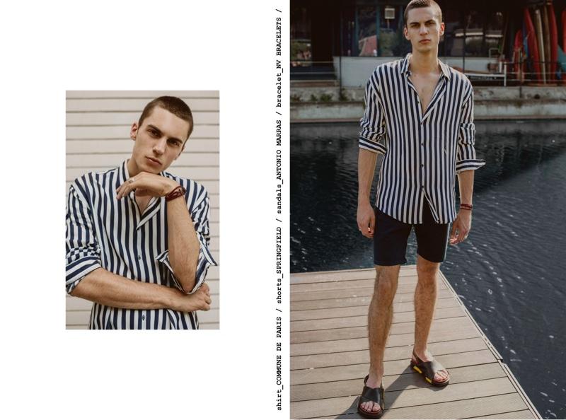 Eugen wears shirt Commune de Paris, shorts Springfield, sandals Antonio Marras, and bracelet NV Bracelets.