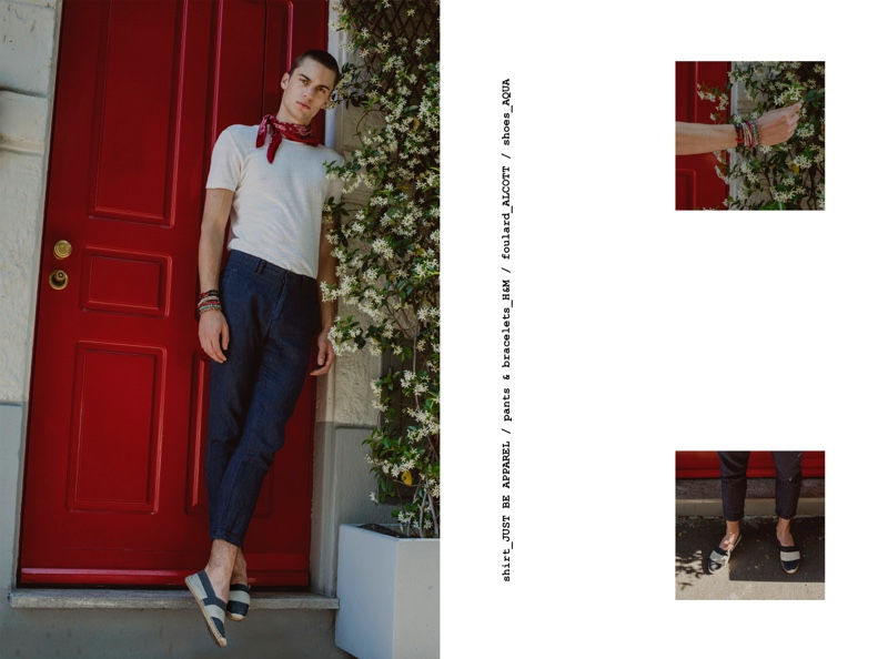 Eugen wears shirt Just Be Apparel, foulard Alcott, shoes Aqua, pants and bracelets H&M.