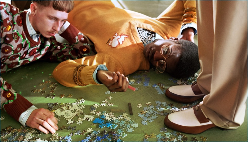 Matïss Rucko and Cheikh Tall star in Gucci's fall-winter 2018 campaign.