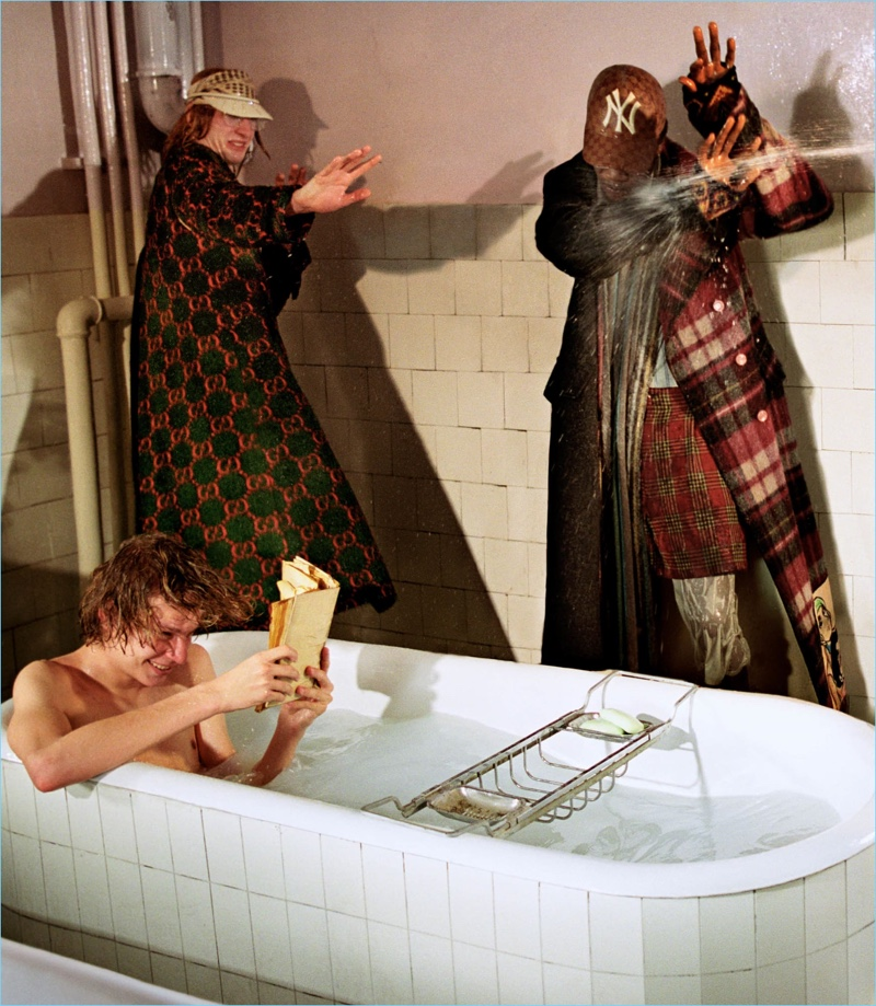 Gucci depicts a fun bathroom scene as part of its fall-winter 2018 campaign.