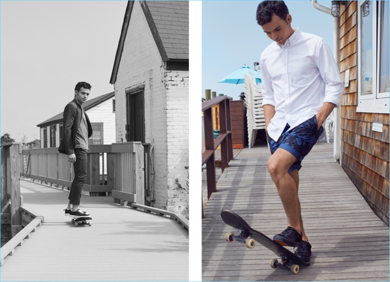 Left: Kilian Martin wears a H&M skinny fit blazer and suit pants with a tee and sneakers. Right: Martin sports a white oxford shirt, graphic chino shorts, and sneakers from H&M.