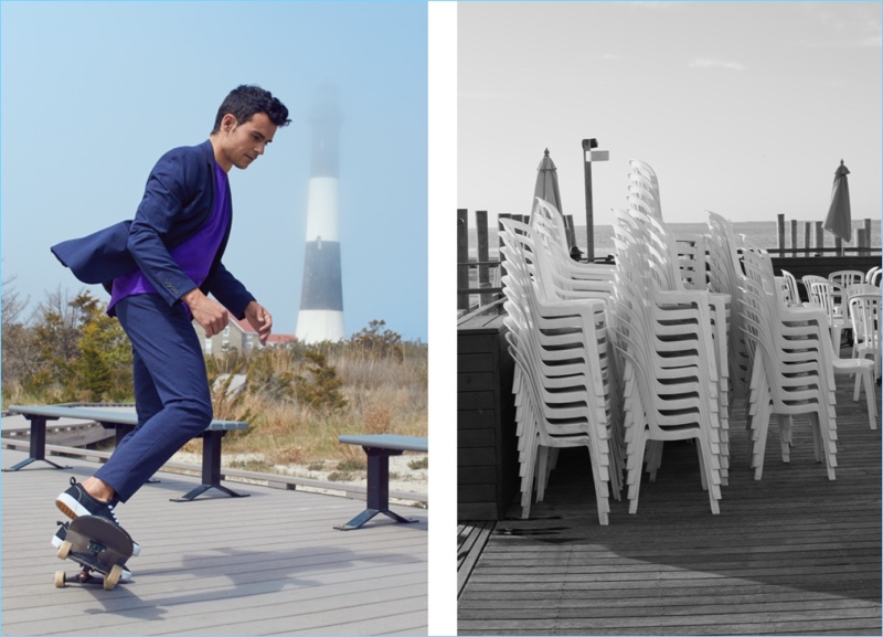 Kilian Martin wears a H&M skinny fit blazer and suit pants with a tee and sneakers.