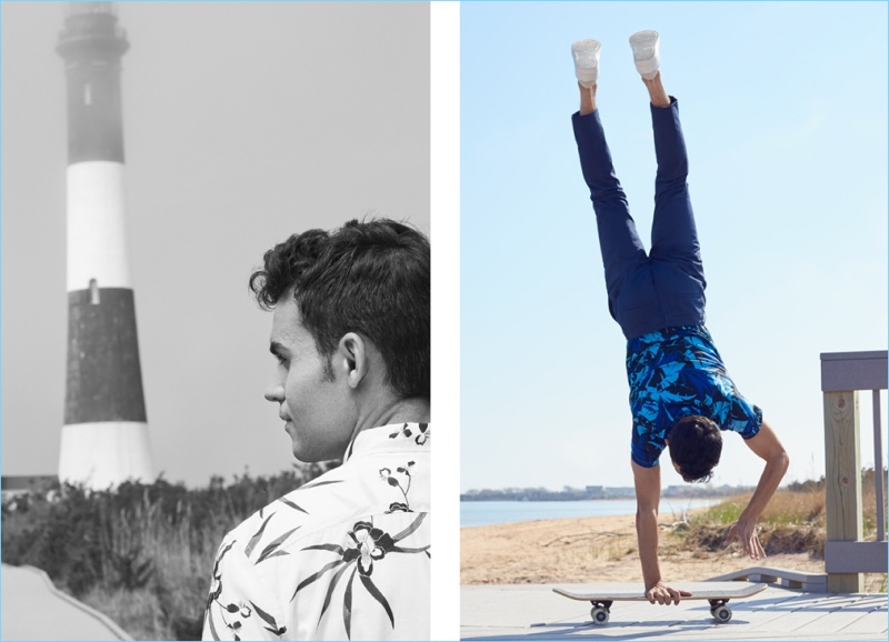 Left: Kilian Martin rocks H&M's resort shirt. Right: Martin wears a cotton t-shirt with skinny fit suit pants and white sneakers.