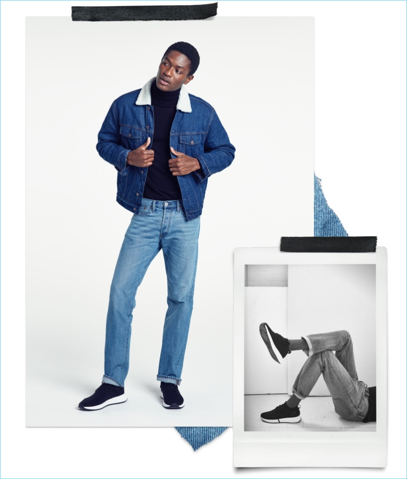 Straight Fit Jeans: Hamid Onifade wears H&M straight fit jeans with a turtleneck and denim jacket.