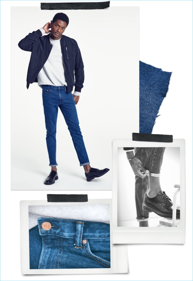 Slim Fit Jeans: Hamid Onifade sports H&M slim jeans with a pullover and bomber jacket.