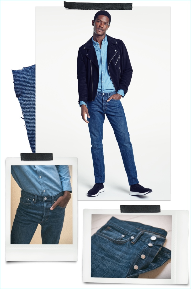 Slim Straight Fit Jeans: Hamid Onifade models H&M slim straight jeans with a denim shirt and biker jacket.