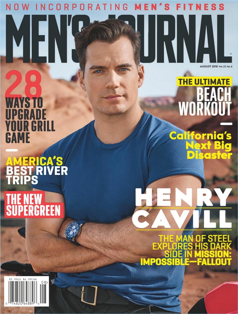 Henry Cavill covers the August 2018 issue of Men's Journal.