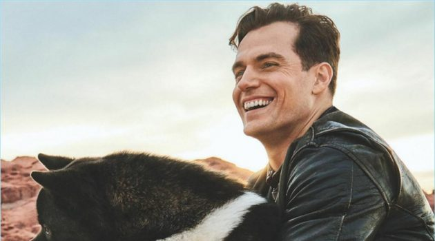 All smiles, Henry Cavill poses with his dog Kal-El.