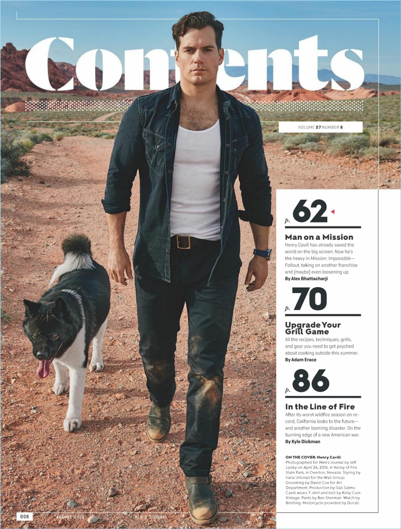 Men's Journal connects with Henry Cavill for its August 2018 issue.
