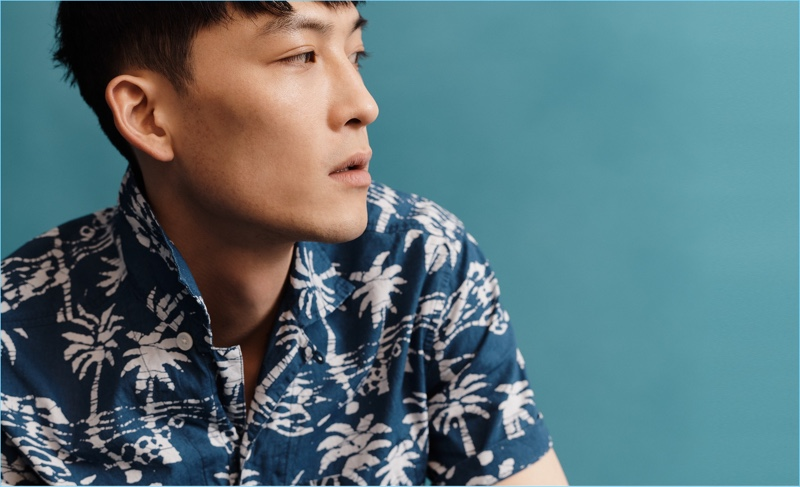 InHyuk Yeo sports an Aloha shirt for J.Crew.
