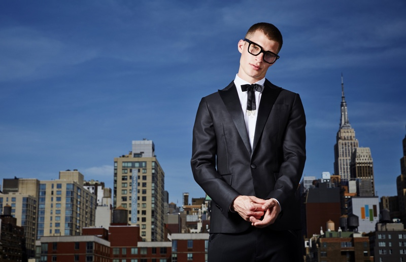 Jordan wears glasses Cutler and Gross, shirt, tie, jacket, and pants Dsquared2.