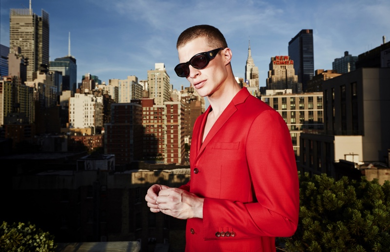 Jordan wears vintage sunglasses Versace and suit Carlos Campos.