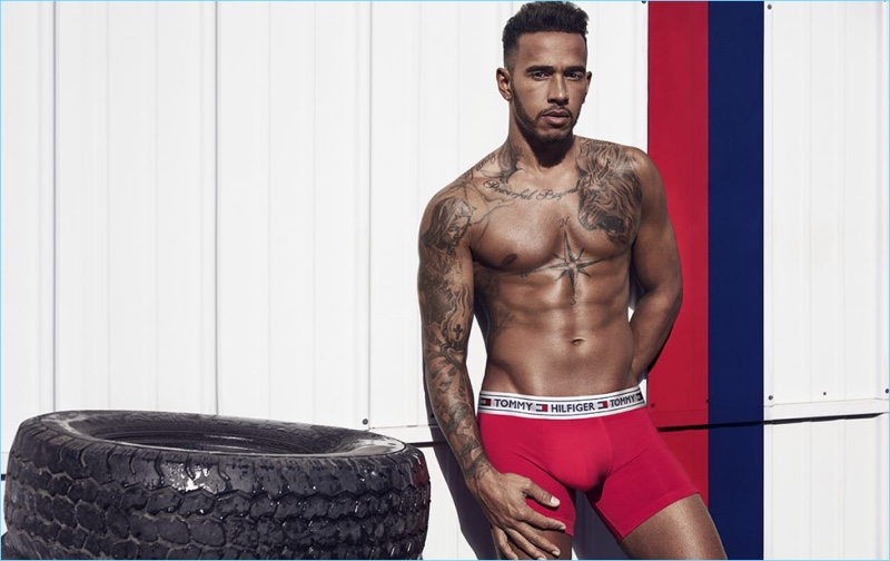 Tommy Hilfiger's latest ambassador, Lewis Hamilton wears underwear for a campaign.