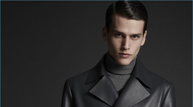 Cool in leather, Simon Van Meervenne wears a double-breasted jacket by Major Giovanni Allegri.