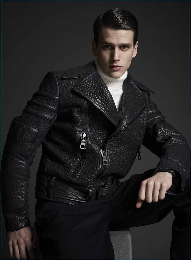 Model Simon Van Meervenne sports a leather jacket from Major Giovanni Allegri.