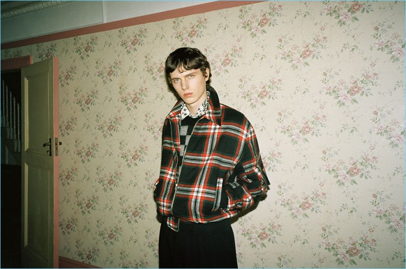 Model Daan Duez appears in McQ's fall-winter 2018 campaign.