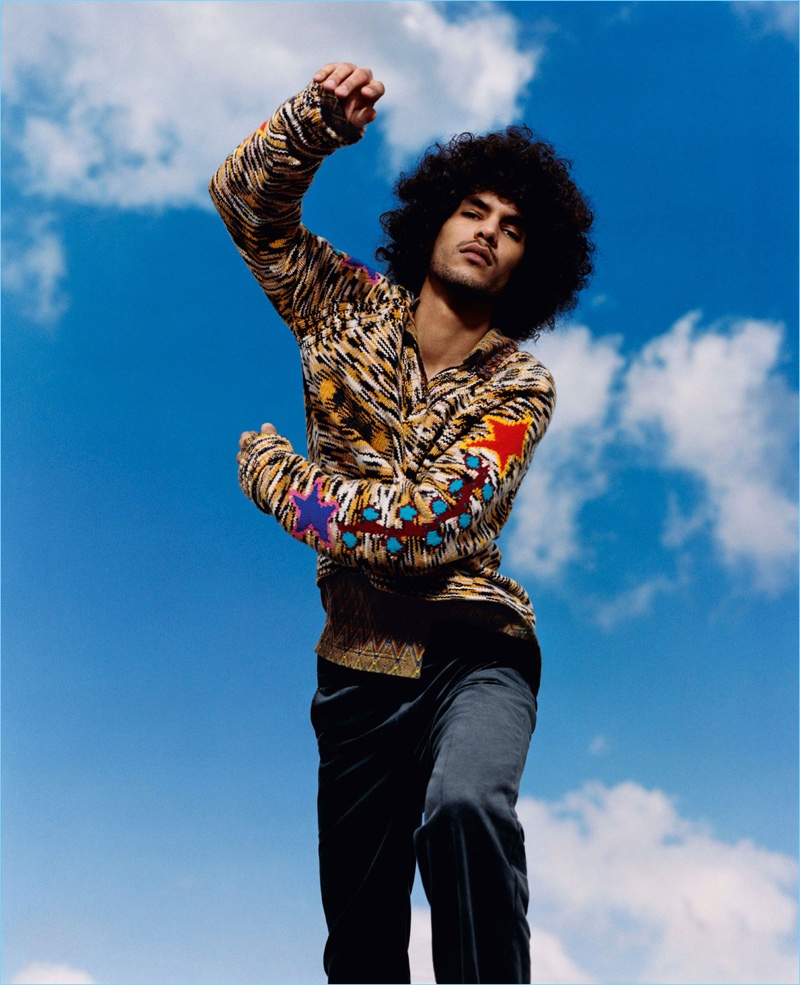 Yassine Rahal stars in Missoni's fall-winter 2018 campaign.