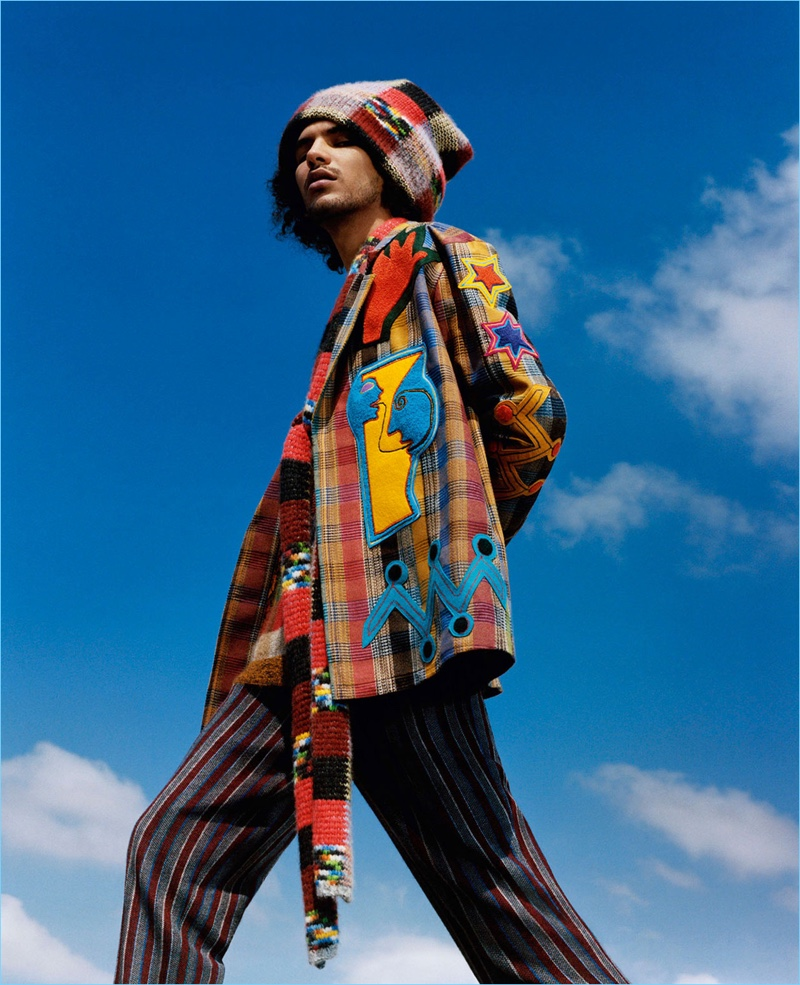 Model Yassine Rahal fronts Missoni's fall-winter 2018 campaign.
