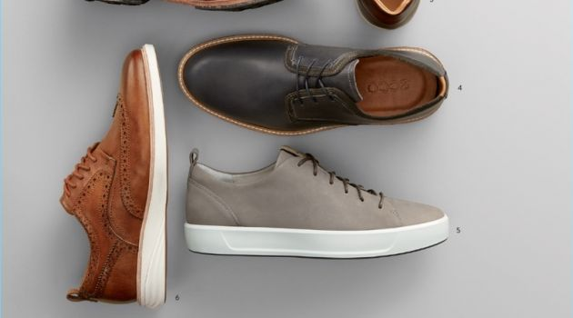 1. Cole Haan sneakers 2. Timberland boots 3. Magnanni sneakers 4. Ecco plain-toe oxford shoes 5. Ecco sneakers 6. Cole Haan wingtip shoes.