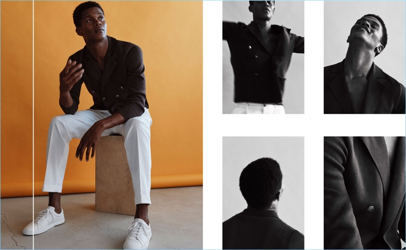 O'Shea Robertson stars in a spring-summer 2018 editorial for Massimo Dutti.