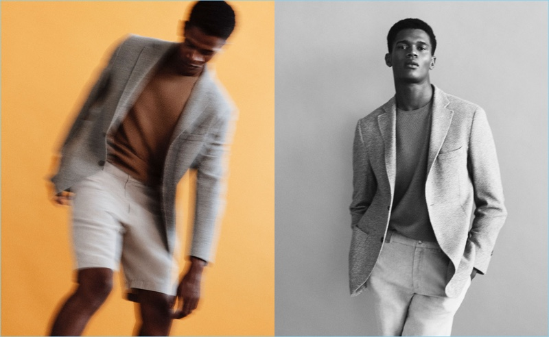 Donning a soft grey blazer, O'Shea Robertson connects with Massimo Dutti.