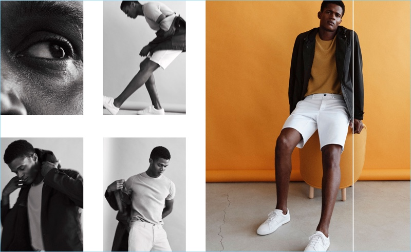 Front and center, O'Shea Robertson dons summer fashions from Massimo Dutti.