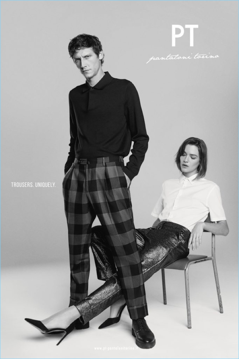 Models Roch Barbot and Lisa-Louis Fratani appear in PT Pantaloni Torino's fall-winter 2018 campaign.