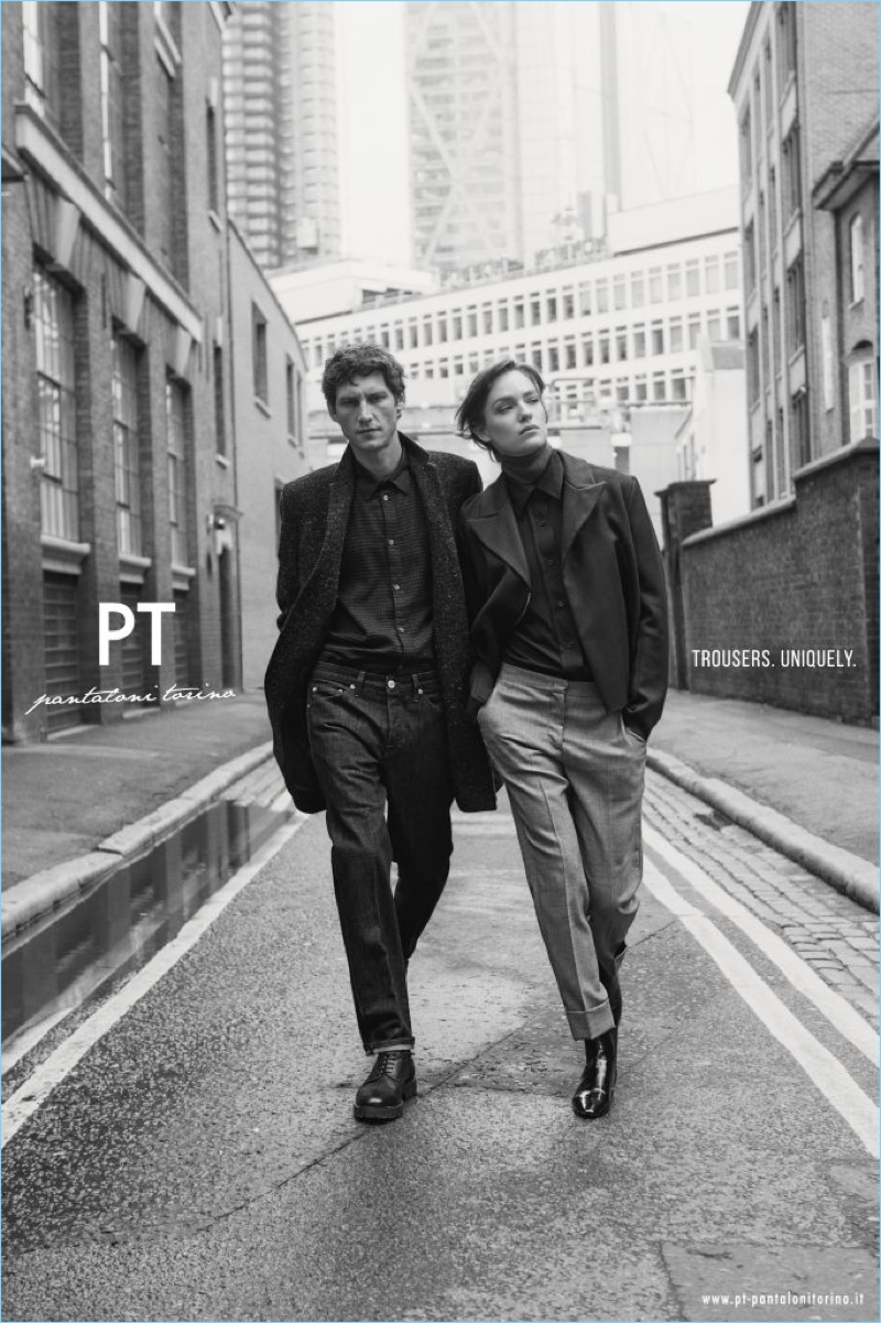 PT Pantaloni Torino enlists Roch Barbot and Lisa-Louis Fratani as the stars of its fall-winter 2018 campaign.