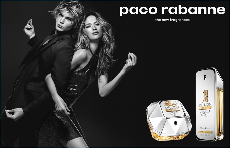 Models Jordan Barrett and Sophia Ahrens come together for Paco Rabanne's Million Lucky campaign.