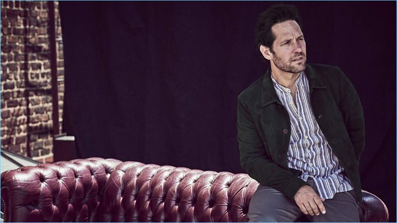 Donning a Prada suede blouson jacket, Paul Rudd also sports a Oliver Spencer grandad-collar shirt. He wears POLO Ralph Lauren chinos as well.