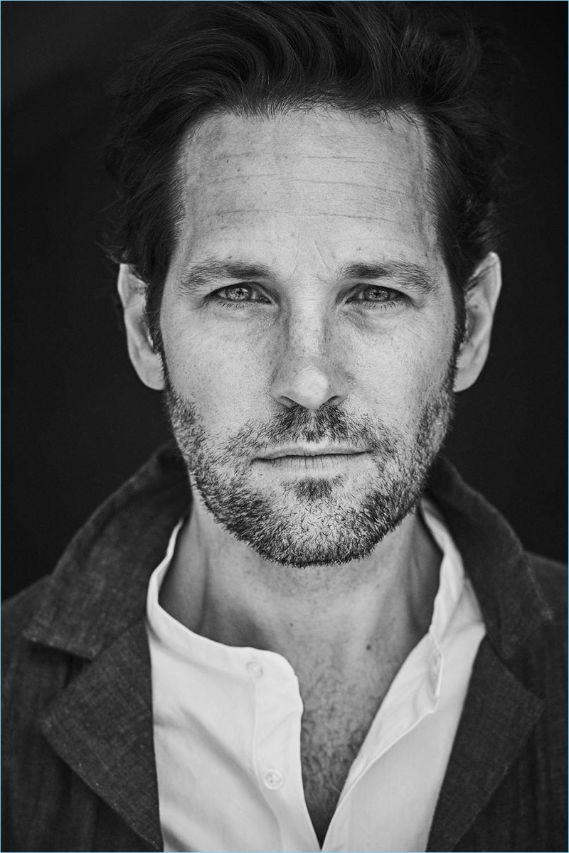 Front and center, Paul Rudd wears a Folk over shirt and Officine Generale grandad-collared shirt.