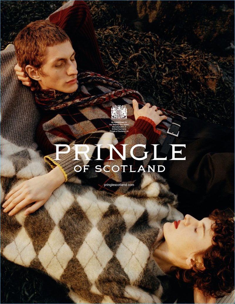 Models Henry Kitcher   and Jamily Wernke Meurer appear in Pringle of Scotland's fall-winter 2018 campaign.