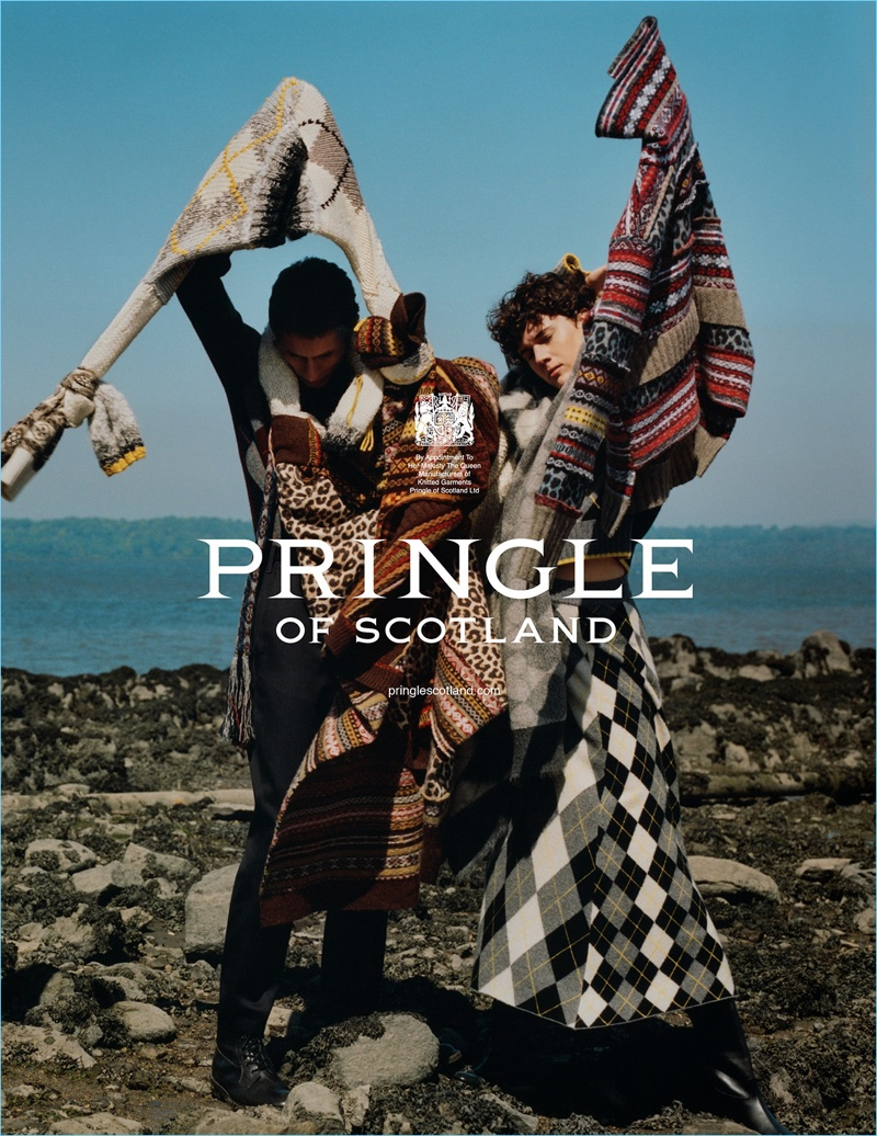 Harley Weir photographs Henry Kitcher and Jamily Wernke Meurer for Pringle of Scotland's fall-winter 2018 campaign.