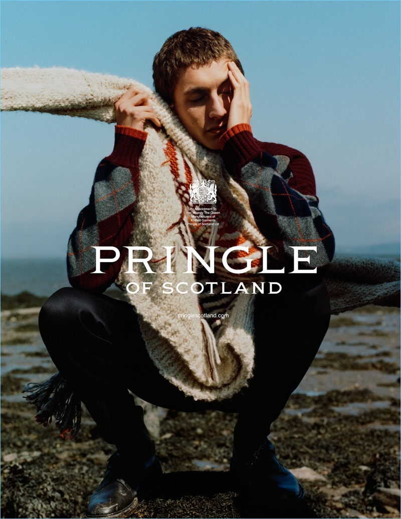 Henry Kitcher stars in Pringle of Scotland's fall-winter 2018 campaign.