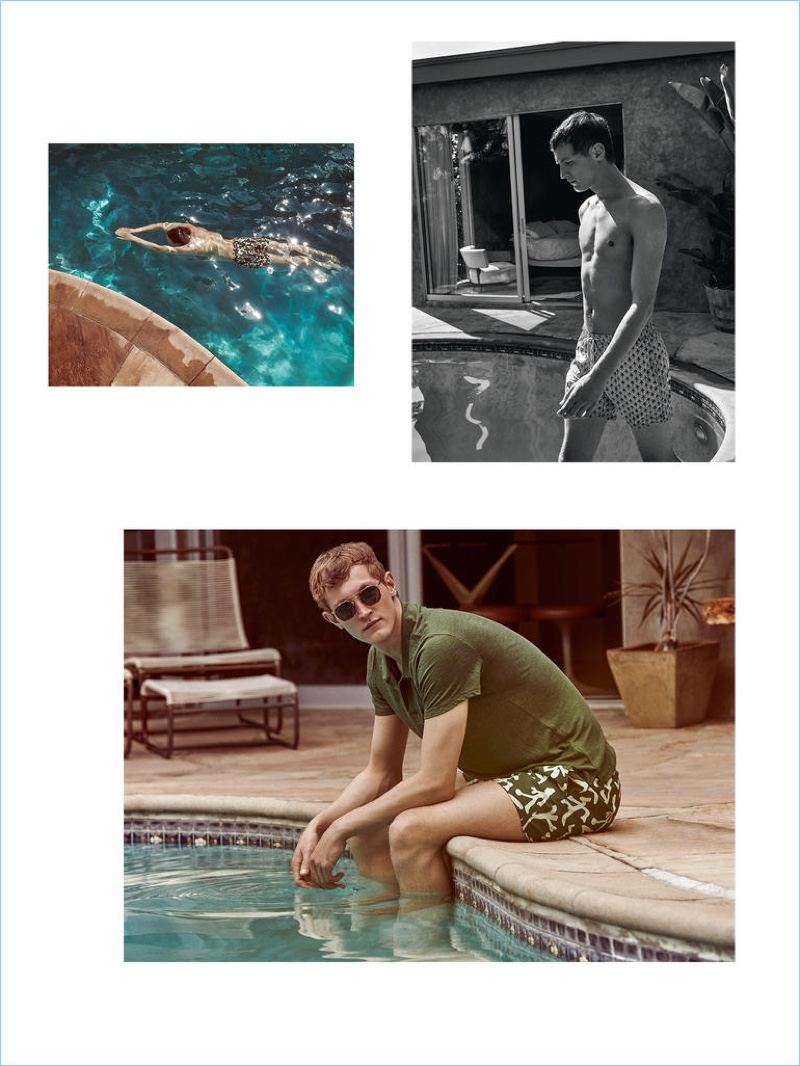 Above left: VILEBREQUIN swim shorts £200; above right: BLUEMINT swim shorts £110; below: VILEBREQUIN T-shirt £120 and swim shorts £200; LINDA FARROW sunglasses from a selection