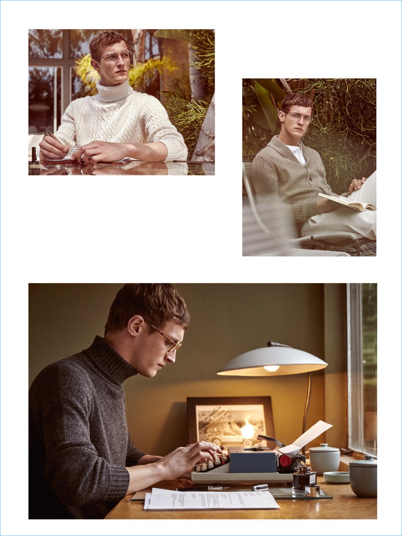 Clockwise, from top left: JOHNSTONS OF ELGIN polo neck £399; STELLA McCARTNEY glasses £200; SMYTHSON Tropical Soho notepad £155; GRAF VON FABER-CASTELL pen £550; CORNELIANI cardigan from a selection; 120% LINO shirt £163; LORO PIANA trousers £405; STELLA McCARTNEY glasses £200; LORO PIANA polo neck £1,195; ALEXANDER McQUEEN glasses £275; GRAF VON FABER-CASTELL pen £550 and ink bottle from £25
