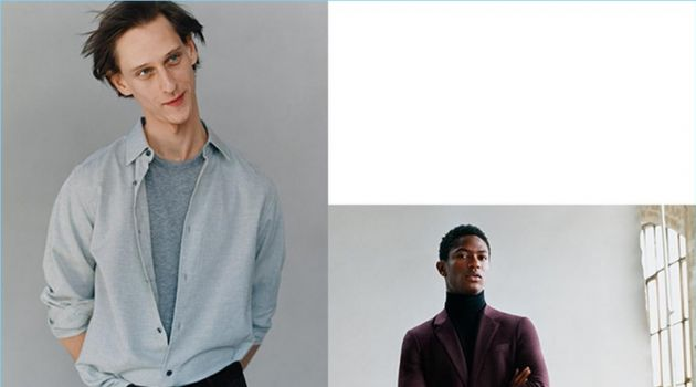 Models Rogier Bosschaart and Hamid Onifade star in Theory's fall-winter 2018 campaign.