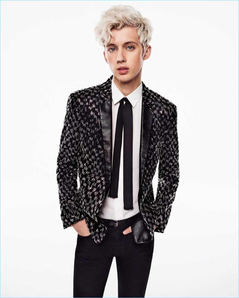 Going glam, Troye Sivan wears a sharply tailored number from Saint Laurent.