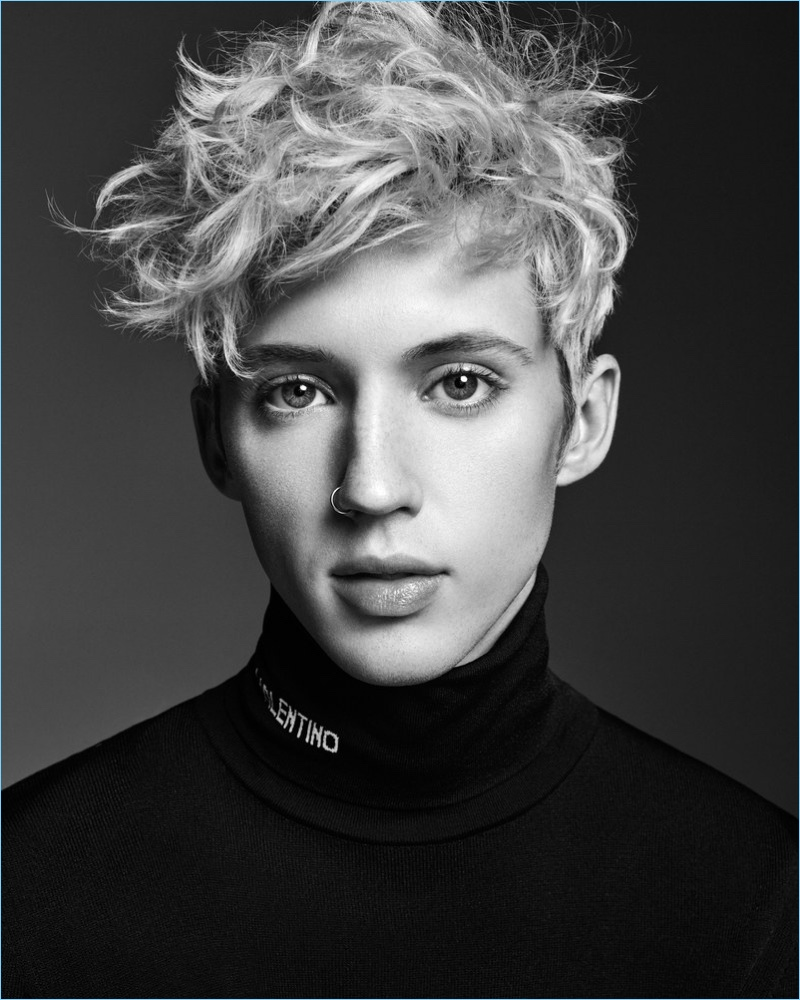 Ready for his close-up, Troye Sivan wears a Valentino turtleneck.