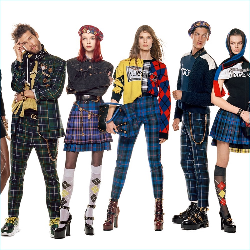 Josh Upshaw, Olivia Forte, Adela Stenberg, Aaron Shandel, and Cara Taylor star in Versace's fall-winter 2018 campaign.