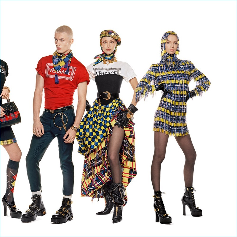 Joao Knorr, Bella Hadid, and Stella Maxwell star in Versace's fall-winter 2018 campaign.
