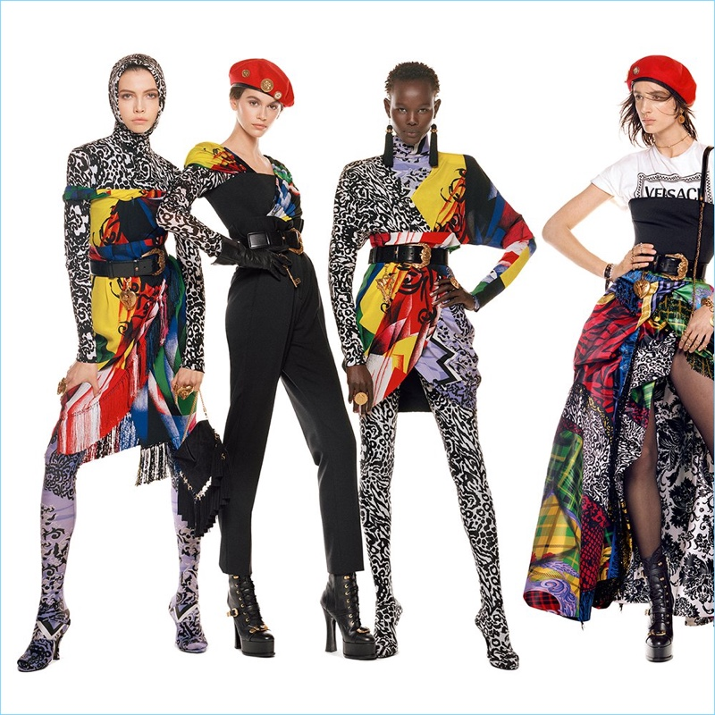 Léa Julian, Kaia Gerber, Shanelle Nyasiase, and Rachel Marx take to the studio for Versace's fall-winter 2018 campaign.