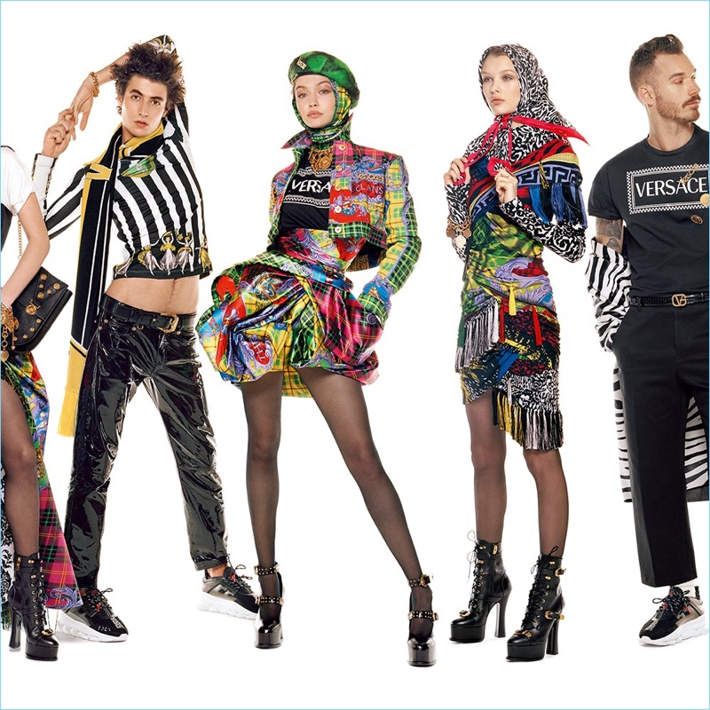 Oscar Kindelan, Gigi Hadid, Kris Grikaite, and David Alexander Flinn star in Versace's fall-winter 2018 campaign.